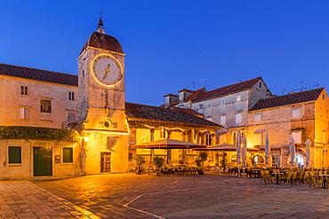 Clock tower of the City Loggia of Trogir at dawn, Croatia, Europe