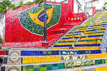 The world-famous Selaron Steps, Lapa, Rio de Janeiro, Brazil, South America