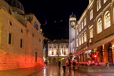 Night shot of the bell tower at Stradun, Dubrovnik, Croatia, Europe