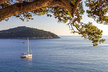 View to Lokrum Island at sunset, Dubrovnik, Croatia, Europe