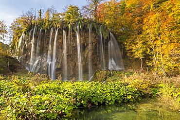 Galovac Waterfall inside Plitvice Lakes National Park during autumn, UNESCO World Heritage Site, Croatia, Europe