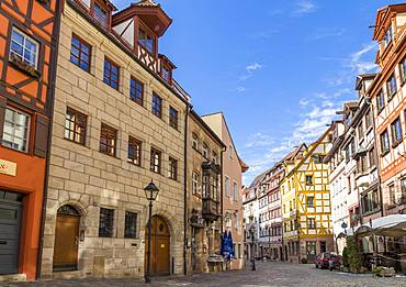 Historical buildings in the old town of Nuremberg, Bavaria, Germany, Europe
