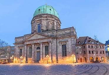 St. Elizabeth Church at dawn, Nuremberg, Bavaria, Germany, Europe