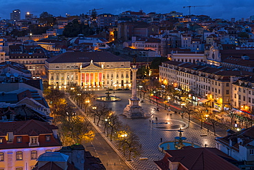View from Santa Justa Lookout over Rossio Square (Pedro IV Square) at dusk, Lisbon, Portugal, Europe