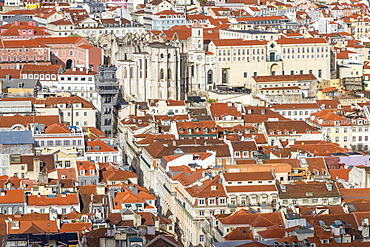 View from Sao Jorge Castle to the Santa Justa Elevator and the Carmo Convent, Lisbon, Portgual, Europe