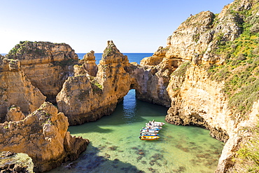 Boats anchoring at Ponta da Piedade, Lagos, Algarve, Portugal, Europe