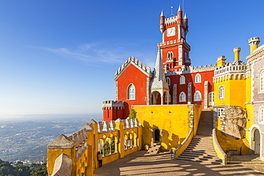 The Pena Palace, UNESCO World Heritage Site, near Sintra, Portugal, Europe