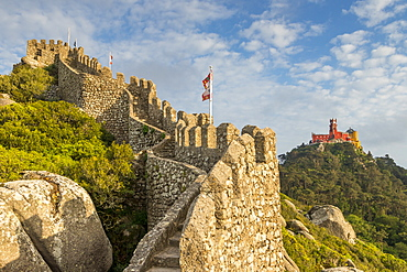 View from the Moorish Castle to Pena Palace, Sintra, Portugal, Europe