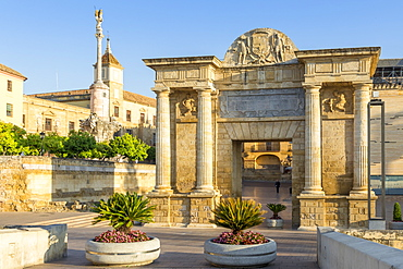 Historical Gate of the Bridge (Puerta del Puente) at first sunlight, Cordoba, Andalusia, Spain, Europe