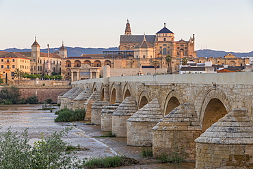 The Mosque-Cathedral (Great Mosque of Cordoba) (Mezquita) and the Roman Bridge at first light, UNESCO World Heritage Site, Cordoba, Andalusia, Spain, Europe