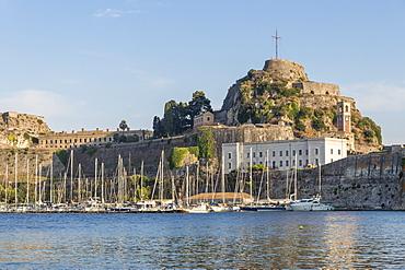 The old fortress of Corfu Town (Kerkyra) seen from Faliraki Beach, Corfu, Greek Islands, Greece, Europe