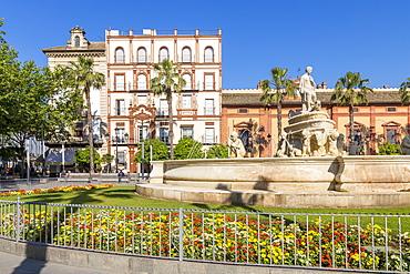 Hispalis Fountain at Puerta Jerez, Seville, Andalusia, Spain, Europe