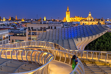 View from the top of Metropol Parasol over the city centre at dusk, Seville, Andalusia, Spain, Europe