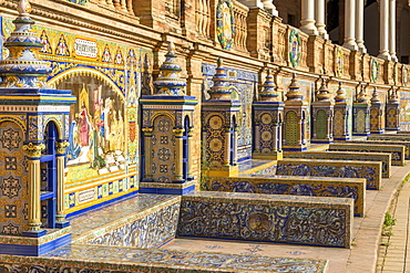 Tiled Alcoves at Plaza de Espana, Seville, Andalusia, Spain, Europe