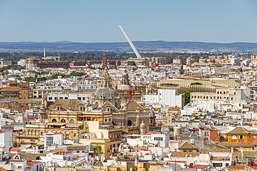 View from the Giralda Bell Tower to El Salvador Church, Metropol Parasol and Alamillo Bridge, Seville, Andalusia, Spain, Europe