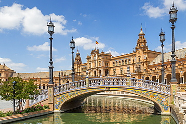 Pedestrian bridge and main building at Plaza de Espana, Seville, Andalusia, Spain, Europe