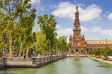 Northern Tower at Plaza de Espana, Seville, Andalusia, Spain, Europe