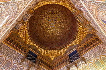 Ceiling in the Hall of the Ambassadors inside the Royal Alcazars, UNESCO World Heritage Site, Seville, Andalusia, Spain, Europe