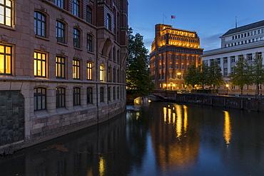 The Laeiszhof and the Patriotische Gesellschaft Kontorhaeuser at dusk, Hamburg, Germany, Europe