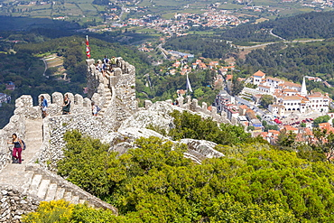View from the Moorish Castle down to the historical centre of Sintra, UNESCO World Heritage Site, Portugal, Europe