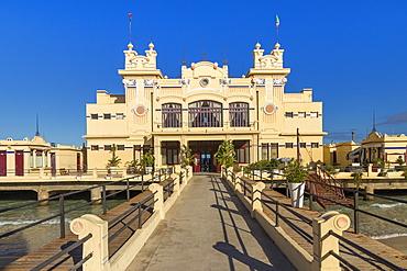 The Antico Stabilimento Balneare building (also known as 'Charleston') at Mondello borough, Palermo, Sicily, Italy, Europe