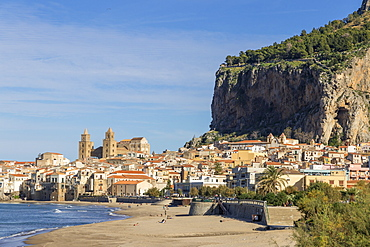 The cathedral and the old town seen from the beach, Cefalu, Sicily, Italy, Europe