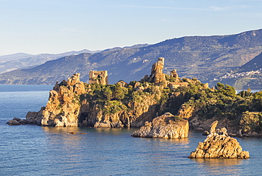 The ancient Caldura watch tower near Cefalu, Sicily, Italy, Europe
