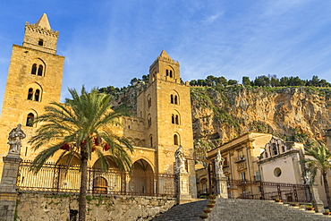 The cathedral of Cefalu with Rocca di Cefalu in the background at sunset, Cefalu, Sicily, Italy, Europe