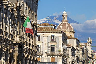 Facades of the buildings at Via Etnea with view to Mount Etna in the background, Catania, Sicily, Italy, Europe