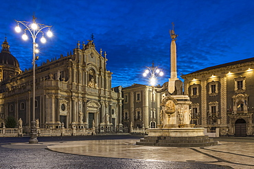 The illuminated cathedral during blue hour, Catania, Sicily, Italy, Europe