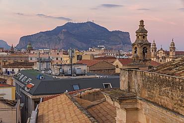 View from Santa Caterina d'Alessandria Church to Mount Pellegrino, Palermo, Sicily, Italy, Europe