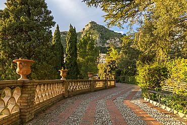 View from the public garden, Parco Duca di Cesaro, Taormina, Sicily, Italy, Europe