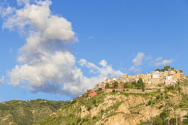 View from Madonna della Rocca church to the village of Castelmola, Taormina, Sicily, Italy, Europe