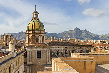 Cupola of the San Giuseppe dei Padri Teatini Church seen from Santa Caterina Church, Palermo, Sicily, Italy, Europe