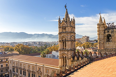 View from the rooftop of the Palermo Cathedral, UNESCO World Heritage Site, Palermo, Sicily, Italy, Europe