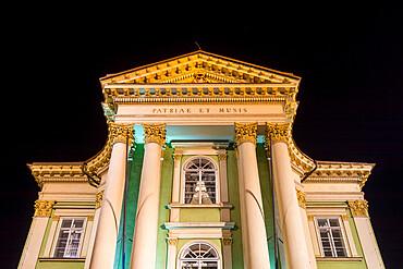 Illuminated Estates Theatre at night, Prague, Bohemia, Czech Republic, Europe