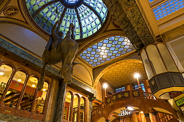 The art-nouveau atrium of the famous Lucerna Palace Shopping Arcade, Prague, Bohemia, Czech Republic, Europe
