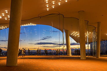 View from the Plaza of the Elbphilharmonie building at sunset, Hamburg, Germany, Europe