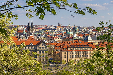 Elevated view from Letna Park over the old town, UNESCO World Heritage Site, Prague, Bohemia, Czech Republic, Europe