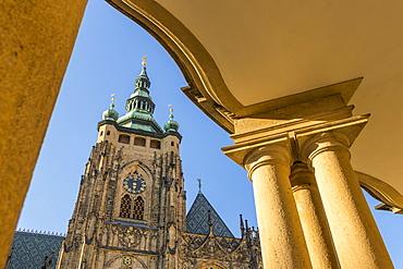 Clock tower of St. Vitus Cathedral, UNESCO World Heritage Site, Prague, Bohemia, Czech Republic, Europe