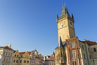 The old town hall seen from the old town market square, UNESCO World Heritage Site, Prague, Bohemia, Czech Republic, Europe