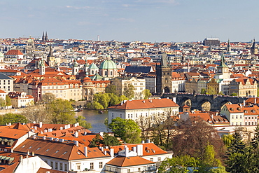 Elevated view from Prague Castle over the Lesser Town, Charles Bridge and the old town, UNESCO World Heritage Site, Prague, Bohemia, Czech Republic, Europe