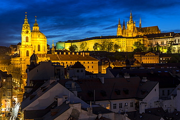 Prague Castle, St. Vitus Cathedral and St. Nicholas Church at dusk, UNESCO World Heritage Site, Prague, Bohemia, Czech Republic, Europe