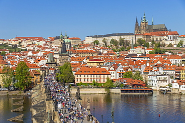 Elevated view from the Old Town Bridge Tower over Prague Castle and the Mala Strana District, Prague, Bohemia, Czech Republic, Europe