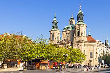 St. Nicholas church seen from the old town market hall, Prague, Bohemia, Czech Republic, Europe