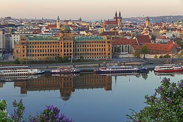 View from a lookout at Letna Park over Vltava River and the old town at first sunlight, Prague, Bohemia, Czech Republic, Europe
