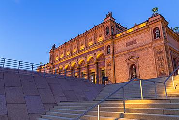 Illuminated Kunsthalle (Art Museum) at dusk, Hamburg, Germany, Europe