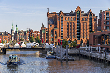 View from Magdeburg Bridge to the International Maritime Museum and the town hall in the background, Hamburg, Germany, Europe