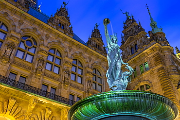Fountain in the inner courtyard of the town hall of Hamburg, Germany, Europe