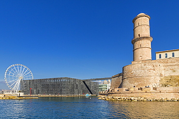 View from an excursion boat to the MuCEM building and the tower of the Saint Jean fortress, Marseille, Bouches du Rhone, Provence, France, Mediterranean, Europe